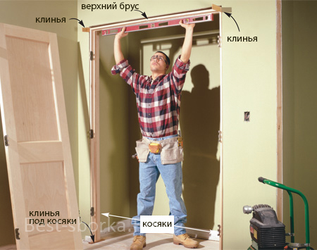 Установка дверного косяка